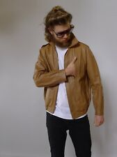 Vintage retro true 70s M leather jacket mens brown excellent Planet