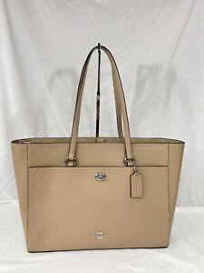 NEW Coach Crossgrain Leather Folio Tote Bag XL 78246 Taupe/Gunmetal  NWT $375