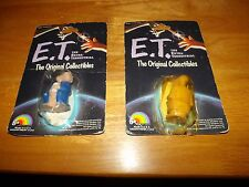 """2 DIFFERENT E.T. ORIGINAL COLLECTIBLES FIG., 2"""" TALL, DAMAGED PKG'S, LOT 3"""