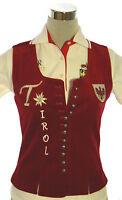 La Camisa Gilet Weste Trachtengilet Tirol Wappen Stickerei Samt rot Gr 36