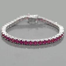 4 mm Natural Ruby Round Cut Gemstone 925 Sterling Silver Tennis Bracelet