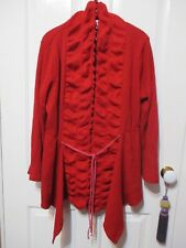 LADIES RED CARDIGAN  SIZE XL FRILLED FRONT ASYMMETRICAL HEM