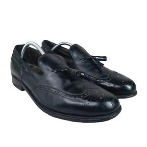 Footjoy Wingtip Loafers Mens 12 Black Leather Kiltie Tassel Vintage Made in USA