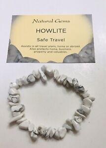 Howlite  Gemstone Chip Bracelet with free organza bag and crystal card