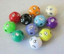 300pcs Mixed Colour Plastic Beads W/rhinestone 7mm M18704