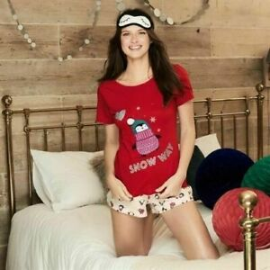 Avon Penguin 3 Piece Set Shortie Pyjamas PJs & eye mask New size 10/12