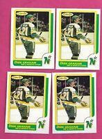 4 X 1986-87 OPC  # 143 NORTH STARS DIRK GRAHAM  ROOKIE NRMT-MT CARD (INV# C7879)
