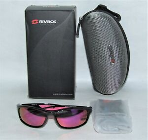 RIVBOS Polarized Pink/Black Sports Sunglasses for Women - Cycling Running w/Case