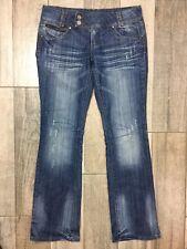 Almost Famous Boot Cut Jeans Sz 11 Mid Rise Distressed Denim Zip Pockets 34x33