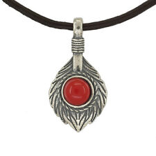 Antiqued Sterling Silver Red Coral On Feather Fan Pendant Charm #65535