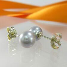 A-743 JMB schöne Ohrringe Earrings 585 Gelbgold mit echten Perlen 7mm Grau