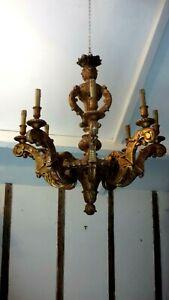 ancien superbe lustre en bois doré style louis XIV h80cmx l80cm  lampe éclairage