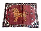 4 x 5 Antique Hand-knotted Lion Birds Handmade Quality Wool Rug Zagros Red Nice