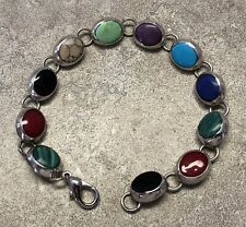 "7 1/4"" STERLING SILVER AND GEMSTONE BRACELET - AGATE MALECHITE TURQUOISE ONYX ++"