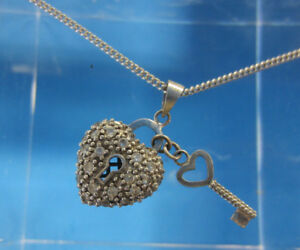 Sterling Silver Lock & Key Heart Necklace Petite Clear Stones -- Free Shipping *