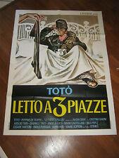 MANIFESTO TOTO' LETTO A TRE PIAZZE,STENO DE FILIPPO GRAY SYMEONI