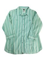 The North Face Womens Size XL XLarge Western Teal Snap Shirt 3/4 Sleeve