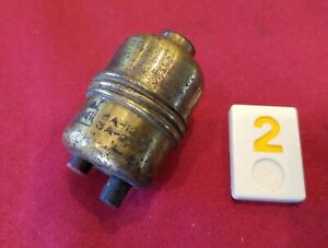 Vtg H&H Electric Brass Bakelite Electric Push Button Switch In Line - Y2E