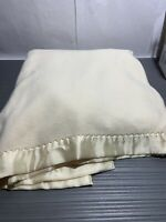 Vtg Fieldcrest Acrylic Full Blanket Peach Glo Nylon Binding  Queen Loom Woven