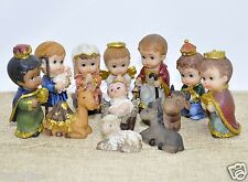 Christmas Nativity Set Scene Cartoon Figures Figurines Baby Jesus-12 PIECE SET