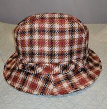 80ed2c5115a2d1 VINTAGE STETSON WOOL PLAID FEDORA DRESS HAT BUCKLE M L MENS BUCKET CAP