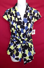 New $79 Anne Klein 12 V-neck Tie Front Top Blouse Stretch Polka Dot 18031416sa