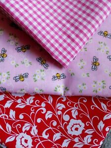 3 metres  Fabric Remnant  Bundle/Pink,red,olycotton/ gingham/ shabby chic/bees/