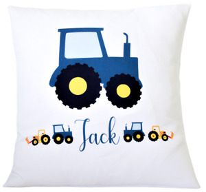"""Personalised Blue tractor - 16"""" white cushion cover boy's nursery/bedroom/gift"""