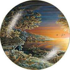 Terry Redlin SUNSET RETREAT Collector Plate Cabin, Fishing, Dogs and Ducks
