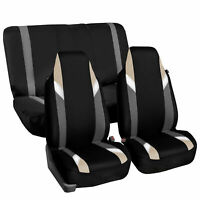 Highback Universal Seat Cover Full Set For Auto SUV Car Beige Black