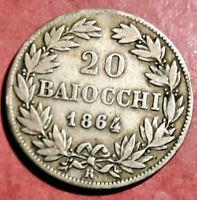 Vaticano 1864 R Pio IX 20 Baiocchi XVIII R @ Muy Bella @