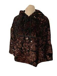 Topshop Sequin Hooded Velvet Cape One Size