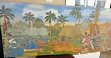 "CANVAS HAND PAINTING TROPICAL MEDITERRANEAN SEA VILLAGE SCENE FRAME 50"" X 22"""