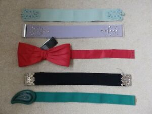 Joblot X 5 H&M elastic waist belts purple green red black SIZE XS