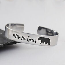 Mama Bear Cuff Bracelet - Stainless Steel Cuff - Family Jewelry Bangle Bear NEW