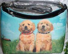 Golden Retriever Pair Dog Theme Hobo Style Microfiber Handbag
