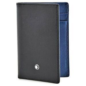 Portadocumenti Montblanc Portacarte Portafoglio con Soffietto in Pelle Nero Blu