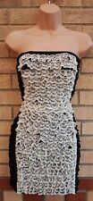 RARE BLACK WHITE FLORAL LACE FRILL RUFFLE BANDEAU BODYCON STRETCH TUBE DRESS 10