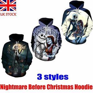 THE NIGHTMARE BEFORE CHRISTMAS SALLY JACK SKELLINGTON HOODIE SWEATSHIRT TOPS NEW
