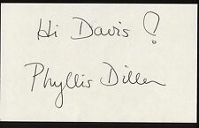 Phyllis Diller Signed Index Card Signature Vintage Autograph AUTO