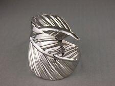 "shiny Silver tone leaf feather pattern metal bangle cuff 2"" wide bracelet"