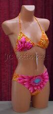 Sexy 2 pc Anisea/Missni String Bikini Swimsuit-Orange Floral Print(S)