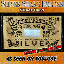 SILVER SHARE HOLDER Card 1 gram fine .999 Ag YouTube Stacker LIMITED TO ONLY 250