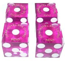 TWO PAIRS OF PINK US CRAPS / DICE -TRANSLUCENT PINK (4 DICE)