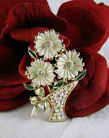 Vintage Sparkling Rhinestone & Enamel Flower Vase   Pin Brooch CAT RESCUE