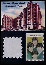 Beatles 1966 Cincinnati Bed Sheet and Stamp Display Vernon Manor Hotel