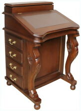 Solid Mahogany Davenport Desk Brown Leather Inlay Antique Repro DSK009B NEW