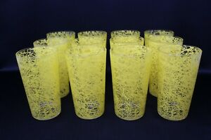 12 VINTAGE YELLOW SPAGHETTI STRING DRINKING WATER GLASSES TUMBLERS EXCELLENT