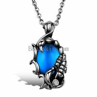 Tribal Biker Stainless Steel Vintage Men's Blue Scorpion King Pendant Necklace