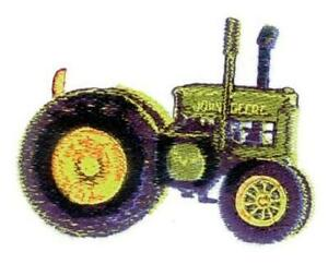 Machine Embroidered Applique Tractor sizes  3.7 x 2.7 in or 6.2 x 4.6 in